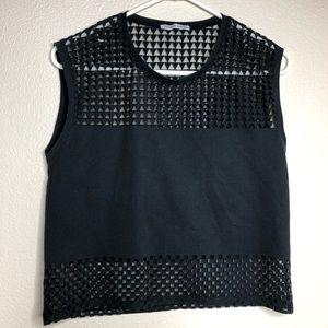 Zara w/b collection black sleeveless top